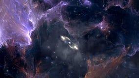 Летать через поля межзвёздного облака и звезды после вспышки сверхновой звезды видеоматериал