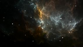 Летать через расширяя поля межзвёздного облака и звезды в глубоком космосе бесплатная иллюстрация