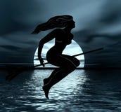 летать helloween ведьма ночи Стоковые Фото