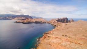 Летающ над полуостровом Lourenco Sao, Мадейра, вид с воздуха Стоковая Фотография