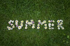 ` Лета ` слова сделанное из цветков на предпосылке зеленой травы Стоковое Изображение RF