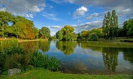 Летнее время на малом озере парка, Бирмингеме, Англии Стоковое Фото
