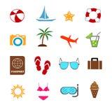 Летние каникулы в красочными векторе установленном значками Стоковое Изображение