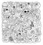 Летние каникулы Doodle, иллюстрация вектора Стоковые Фото