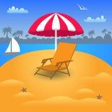 Летние отпуска в Seashore пляжа также вектор иллюстрации притяжки corel Стоковая Фотография RF