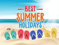 Летние отпуска в Seashore пляжа бесплатная иллюстрация