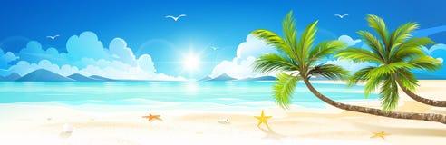 Летние отпуска на тропическом пляже вектор Стоковые Фото