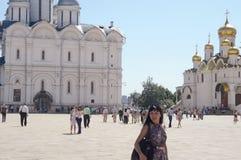 Летний день квадрата Москвы Кремля Sobornaya стоковая фотография rf