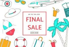 Летний отпуск, предпосылка перемещения Окончательный плакат продажи, знамя Стоковые Изображения RF