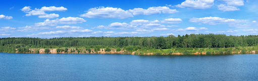лето берега озера панорамное Стоковая Фотография