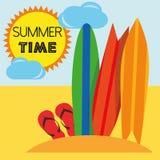 Лето вектора иллюстрации графическое, перемещение, праздник Стоковое Изображение