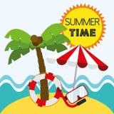 Лето вектора иллюстрации графическое, перемещение, праздник иллюстрация вектора