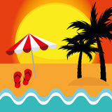 Лето вектора иллюстрации графическое, перемещение, праздник Стоковые Фотографии RF