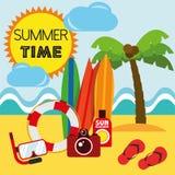 Лето вектора иллюстрации графическое, перемещение, праздник Стоковая Фотография