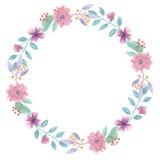 Лето весны гирлянды пинка венка лист свода цветка акварели Стоковое Изображение RF