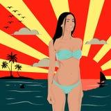 Лето в пляже Иллюстрация штока