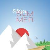 Лето горы иллюстрации с текстом стиля Стоковые Изображения