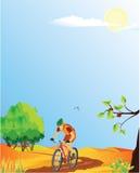 лето горы ландшафта велосипедиста Стоковое Изображение