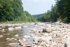 Лето, горы, река, остатки, природа, туризм, камни, деревья, вода, небо стоковое изображение rf
