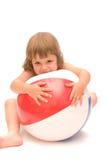 лето девушки пляжа шарика Стоковое Фото