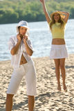 лето девушок пляжа милое Стоковая Фотография RF