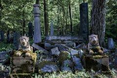 Лето дневного света руин львов гранита кладбища старое стоковое фото rf