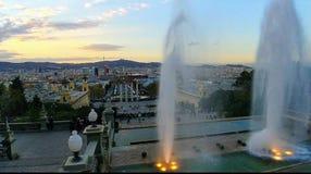 Лето захода солнца вида на город Барселоны стоковое фото rf