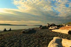 Лето захода солнца пляжа Стоковые Изображения RF