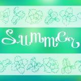 Лето литерности на предпосылке с цветками вектор знамени eps10 наслоенный архивом бесплатная иллюстрация