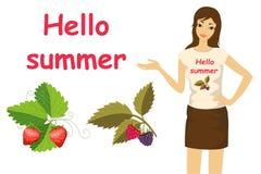 Лето и девушка комплекта изображения здравствуйте! Стоковое Изображение