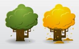 Лето и осень дерева Иллюстрация вектора