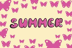 Лето и розовые бабочки бесплатная иллюстрация