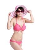 Лето и счастливая девушка бикини Стоковые Фото