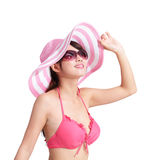 Лето и счастливая девушка бикини Стоковое Фото