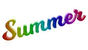 Лето каллиграфическое 3D представило иллюстрацию текста покрашенный с градиентом радуги RGB Стоковое Фото