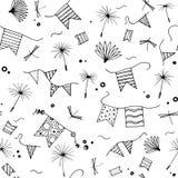 лето картины безшовное Doodle семена одуванчика, флаги, dragonfly изолированный на белой предпосылке бесплатная иллюстрация