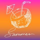 Лето кокоса и надписи белое на покрашенном изображении вектора предпосылки иллюстрация вектора