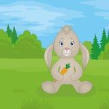 лето кролика девушки пущи моркови иллюстрация штока