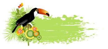 лето ладоней птицы знамени тропическое Иллюстрация штока