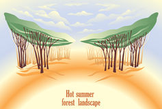 лето ландшафта пущи горячее иллюстрация вектора