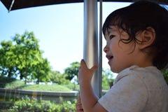 Лето милого мальчика идя внешнее Стоковое Изображение RF