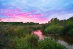 Лето над восходом солнца реки Стоковые Изображения