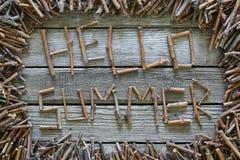 Лето надписи здравствуйте! с деревянными ручками на деревянной предпосылке Стоковая Фотография