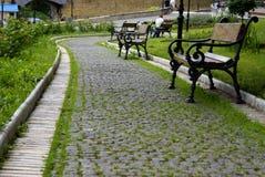 лето парка дня benchs Стоковая Фотография
