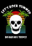 Лето пляжа кокосовой пальмы черепа позволило нам тряхнуть делает плохую вещь мальчика иллюстрация вектора