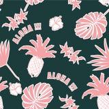 лето предпосылки тропическое Листья ладони, экзотические плодоовощи Вектор h Стоковая Фотография