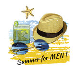 Лето предпосылки с литерностью, солнечными очками, сланцами, небом Стоковые Фотографии RF