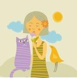 лето пурпура девушки кота птицы иллюстрация штока