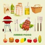 Лето, плакат пикника весны иллюстрация штока