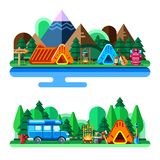 Лето располагаясь лагерем в лесе и горах, vector плоская иллюстрация стиля Концепция туризма приключений, перемещения и eco иллюстрация вектора